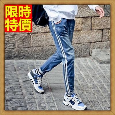 牛仔長褲 休閒褲-撞色鬆緊彈力修身單寧男褲子2色66ad49【獨家進口】【米蘭精品】