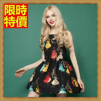 無袖洋裝 女裙子-圓領精美公主印花連身裙2色67m3【獨家進口】【米蘭精品】