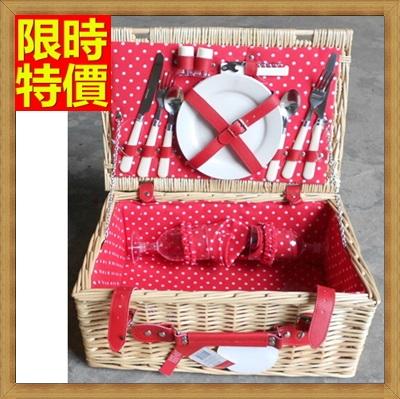野餐籃 編織籃子含餐具組合-可愛點點裡布兩人份郊遊用品68e13【獨家進口】【米蘭精品】