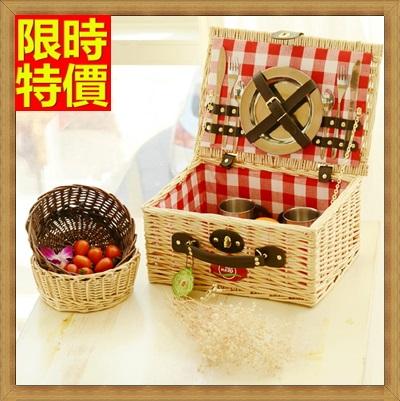 野餐籃 編織籃子含餐具組合-二人份蘇格蘭格紋風郊遊用品68e26【獨家進口】【米蘭精品】