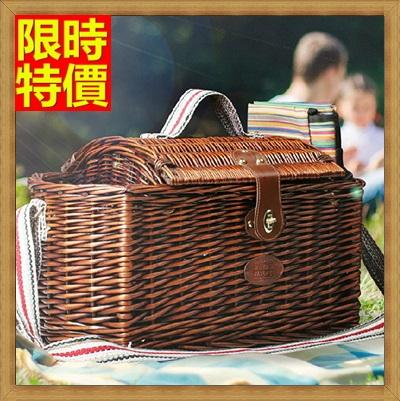野餐籃 編織籃子含餐具組合-四人份戶外帶蓋收納郊遊用品68e41【獨家進口】【米蘭精品】