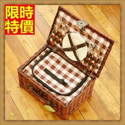野餐籃 編織籃子含餐具組合-戶外保溫保冷二人份手提郊遊用品68e46【獨家進口】【米蘭精品】