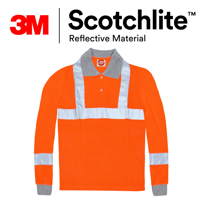 【safetylite安心生活館】《滿額免運.贈禮.加line折百》反光長袖PLOL衫-螢橘鳥眼(可團購)-3M Scotchlite™反光