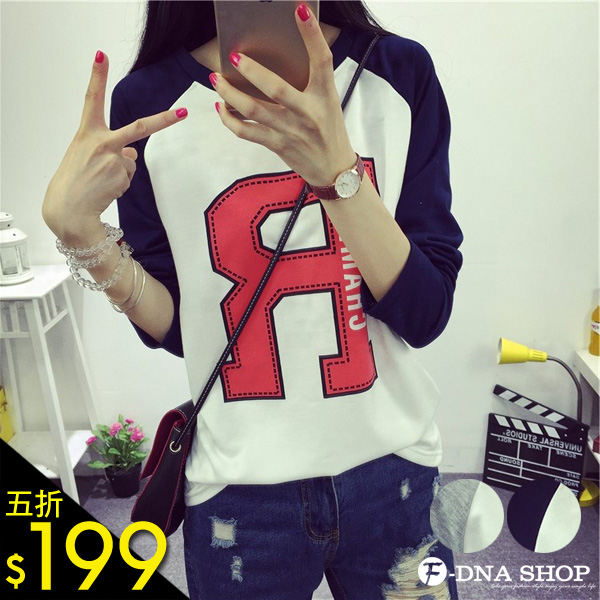 F-DNA★大寫R字母拼色接袖棒球長袖上衣T恤(2色-M-XL)【ESQ1678】
