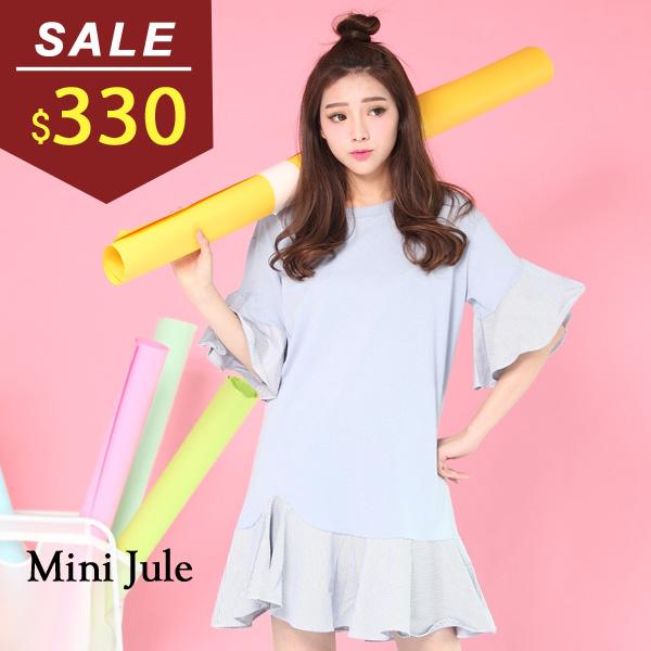 洋裝 氣質造型拼接荷葉袖傘狀短袖洋裝 小豬兒 MiNi Jule 【YXJ61000508】