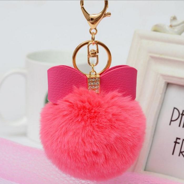 糖衣子輕鬆購【DS158】韓版懶兔毛球鑲鑽蝴蝶結包包鑰掛件毛球時尚鑰匙圈吊飾