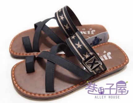 【巷子屋】JIMMY POLO 男款交叉質感夾腳拖鞋 [1001] 黑 MIT台灣製造 超值價$198