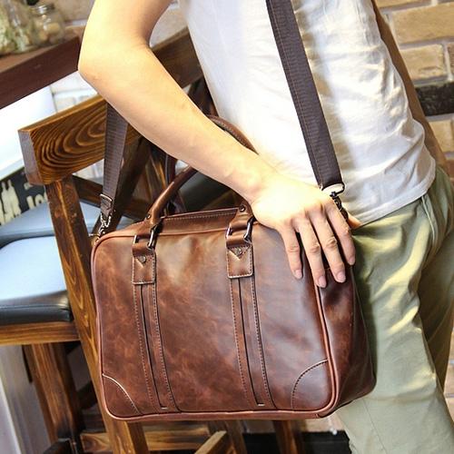 PocoPlus 韓版A4文件包 公事包 公文包 手提包 醫生包 復古款 業務包 肩背包 郵差包 側背包【B212】