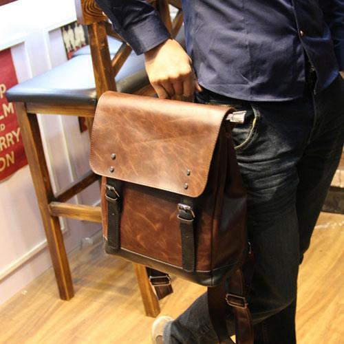 PocoPlus 韓版手提包 後背包 電腦包 書包 瘋馬皮紋款 復古英倫【B250】