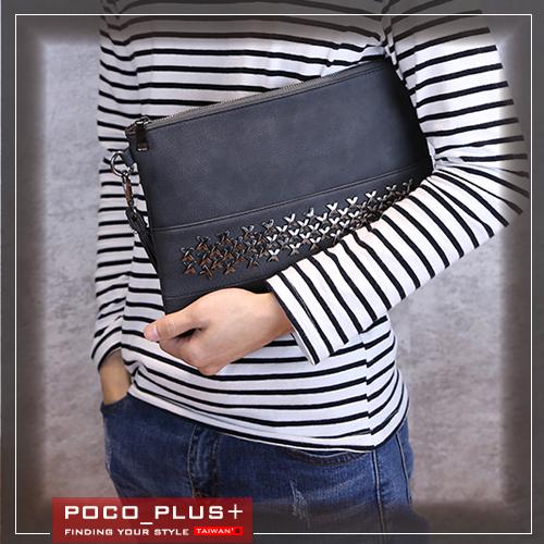 PocoPlus 新款韓版潮流 單肩斜跨包 手拿包 毛呢 文件包 潮流款包 手提包【B539】