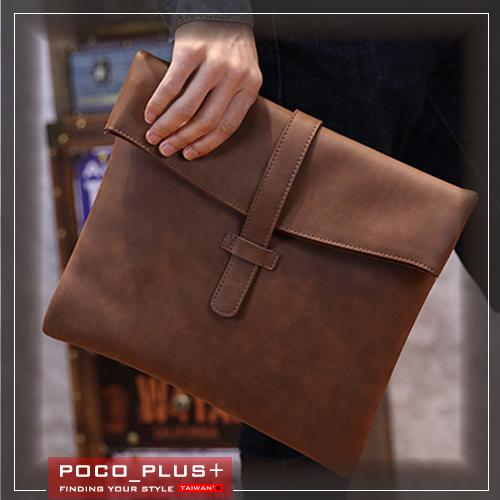 PocoPlus 韓版潮男 馬皮手提包 單肩包 斜背包 【B550】