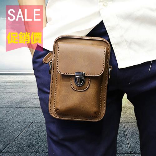PocoPlus 新款時尚男士腰包 夏季瘋馬皮 多功能休閒小包 男包 【B671】