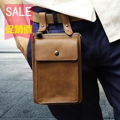 PocoPlus 新款時尚男士腰包 夏季瘋馬皮 個性休閒小包包 戶外運動小包 【B672】