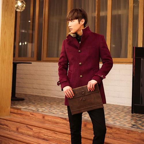 PocoPlusc 韓版西裝領外套 軍裝外套 英倫風外套 型男針織羊毛衣 毛呢外套 歐巴最愛 C063