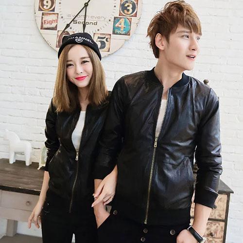 PoCo 韓式風格 韓系外套  修身皮夾克 情侶潮牌機車皮衣  跟別人不一樣【C180】