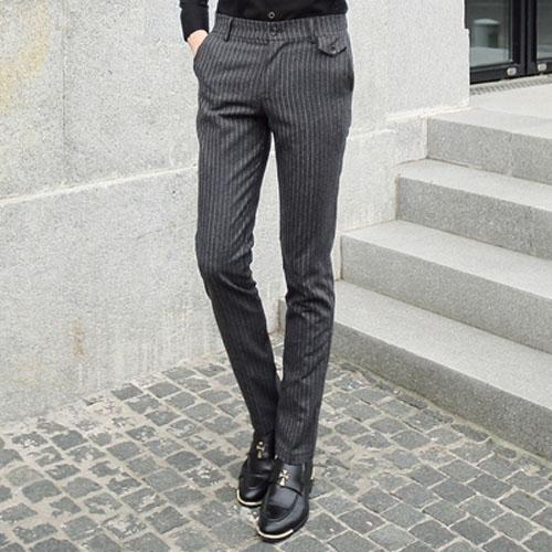 PocoPlus 韓版紳士的品格 條紋褲 西裝褲 鉛筆褲 純色條紋 型男潮褲 M026