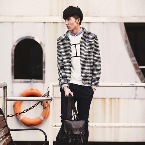 PocoPlus 韓式風格 韓版長袖襯衫 時尚簡約 棉質千鳥格襯衫 文藝英倫風 歐巴的新鮮貨 ST127