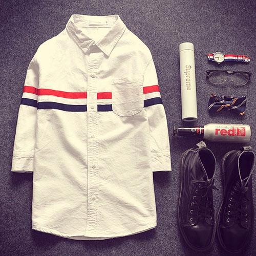 PocoPlus  時尚經典 韓版七分長袖襯衫 棉質條紋印花襯衫 文藝英倫風 歐巴的情人節禮物 ST210