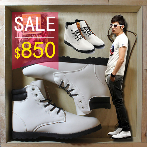 PocoPlus  Timberland 韓版高筒靴 工作靴 潮流經典靴 雷根鞋 登山鞋 白色 S020