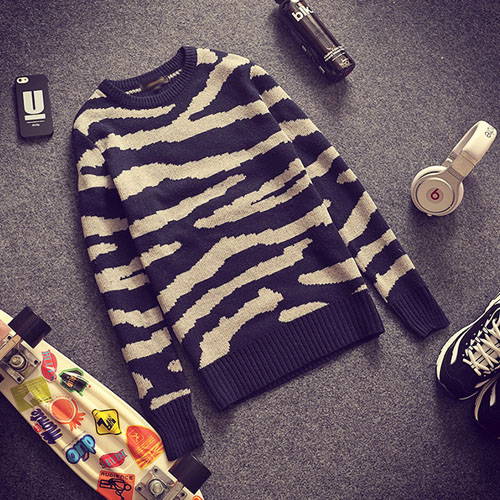 PocoPlus 韓系針織毛衣 斑馬紋路 網狀紋路毛衣 李敏鋯款 針織外衣 T138