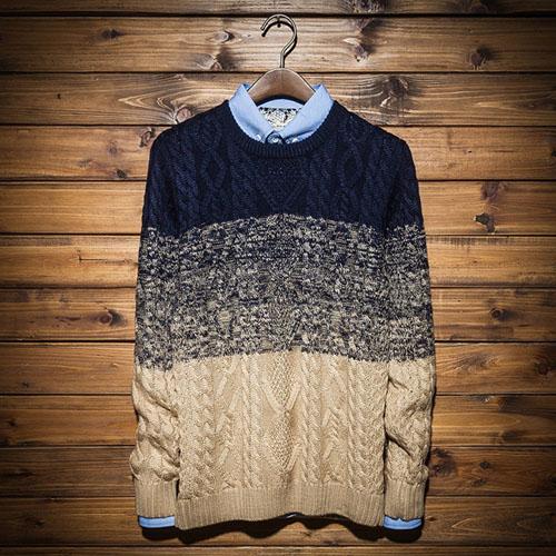 PocoPlus 韓系針織毛衣 混色毛衣 撞色系列 修身款 漸層毛衣 李敏鋯款 針織外衣 T140