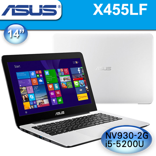 ASUS 華碩【全新品】X455LF-0163G5200U 白》14吋, i5-5200U, 4G記憶體, 1TB硬碟, 獨顯2G, Win10, 2年保