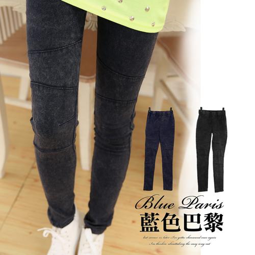 牛仔長褲 - 激瘦立體車線縮腰口袋單寧彈力褲 (31161) 藍色巴黎 (2色)  S~XL現貨商品