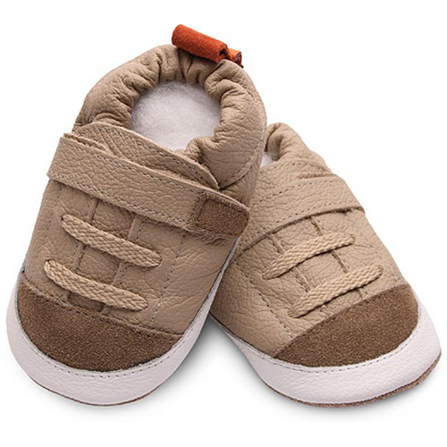 【HELLA 媽咪寶貝】英國 shooshoos 安全無毒真皮手工鞋/學步鞋/嬰兒鞋_優雅卡其色運動型 _SBG01 (公司貨)