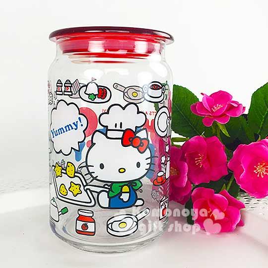 〔小禮堂〕Hello Kitty 玻璃密封罐《透明.側坐.廚師帽.食物.750ml》