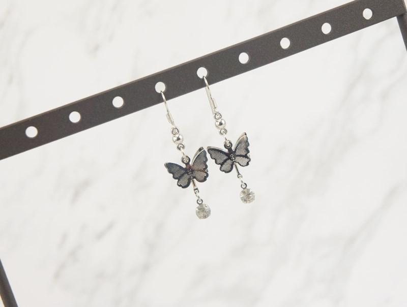 2386402蝴蝶水鑽垂墜耳環、耳扣、耳勾、耳針、耳飾