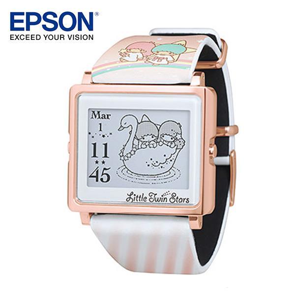 EPSON Kikilala Rainbow 雙星仙子玫瑰金手錶 百變! 4種動態圖案顯示 細緻! 日本精工設計輕巧薄型外觀 時尚! 搭配穿著任意變換錶帶 耐用! 獨家省電技術3年持久電力