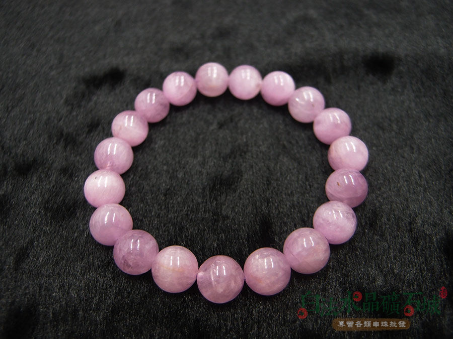 白法水晶礦石城 天然-紫鋰輝(孔賽石) 10mm 手鍊/手環 首飾材料 (天然美麗的紫色礦石)