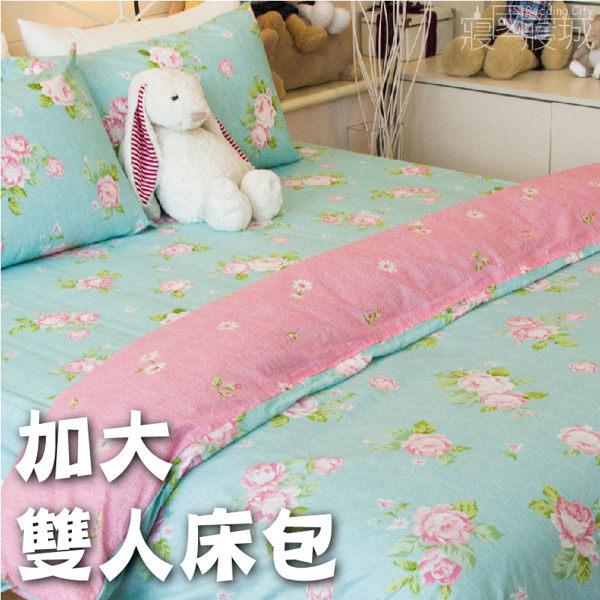 精梳棉-春天的氣息加大雙人床包組 #綠色玫瑰花【大鐘印染、台灣製造】#精梳純綿