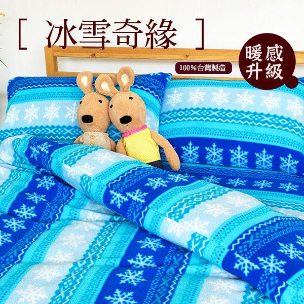 雙人床包被套4件組【極細超柔、可愛搖粒絨毛巾布】5x6.2尺印花搖粒床包組#冰雪x奇緣