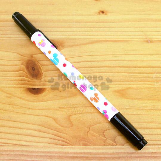 〔小禮堂〕迪士尼 米奇 日製兩頭油性簽字筆《白.多大臉.繽紛點點》黑色墨水