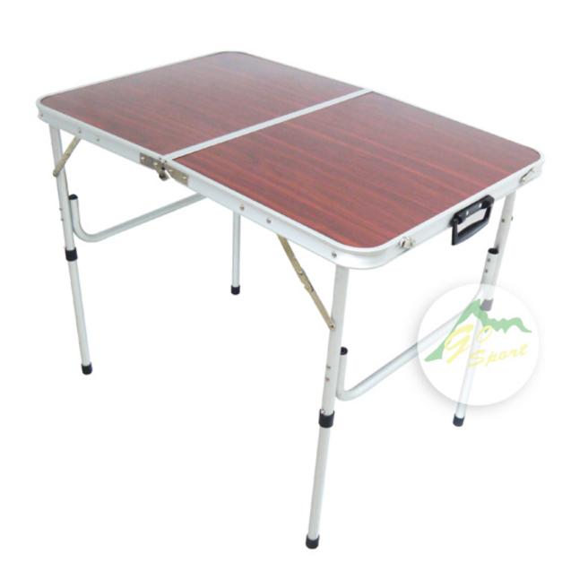 【露營趣】中和 GO SPORT 92053 60*90*37~70cm 折式桌/二段式 小折桌 木紋鋁桌 露營桌 可調式折桌