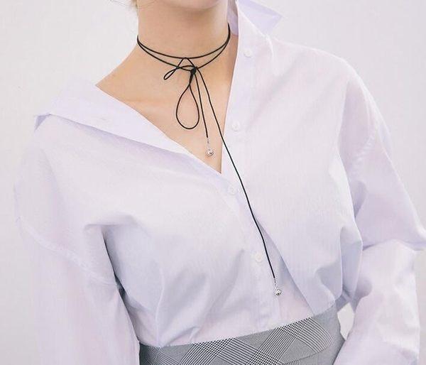 PS Mall 日韓新款軟妹可愛蝴蝶結隨性街頭細繩綁帶銀珠墜配飾繩項鍊頸鏈【G2267】
