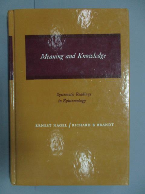 【書寶二手書T1/原文書_PIP】Meaning and Knowledge_民70