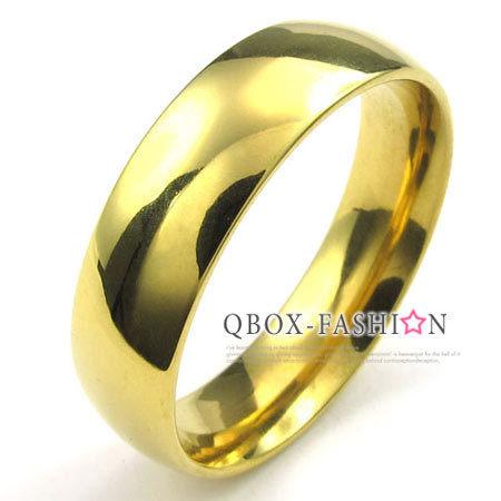 《 QBOX 》FASHION 飾品【W10022935】精緻個性粗版素面金色316L鈦鋼戒指/戒環(0.6cm)