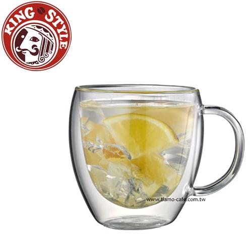 金時代書香咖啡 Tiamo 雙層玻璃杯 把手款 275cc 2入