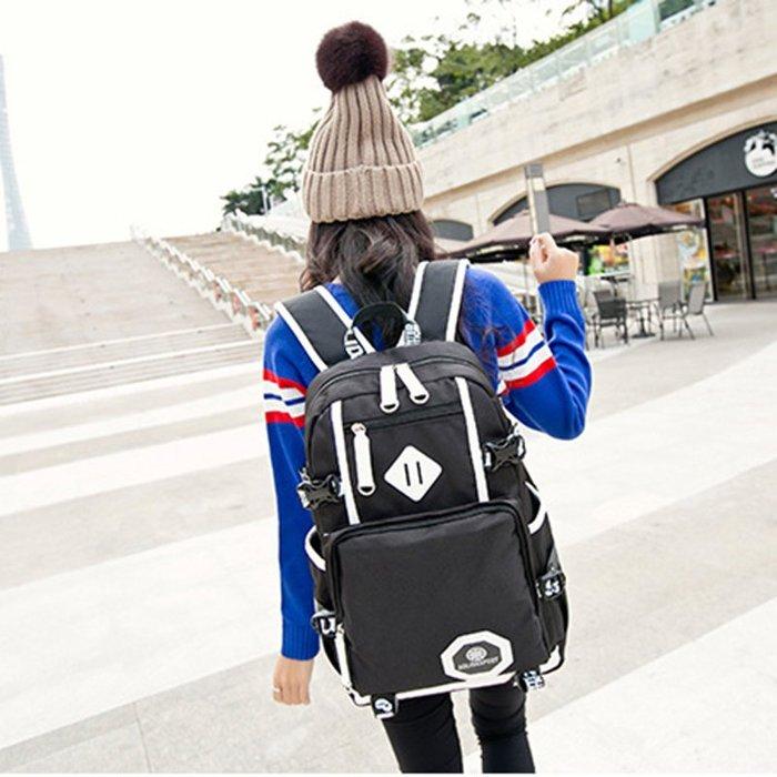 豬鼻子防水背包 後背包 學生書包 出國旅行包包--夏日時光