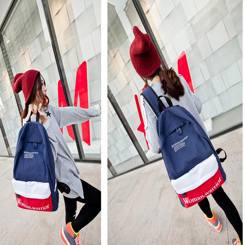 復古學院風男女帆布後背包旅行包包 學生書包 --夏日時光