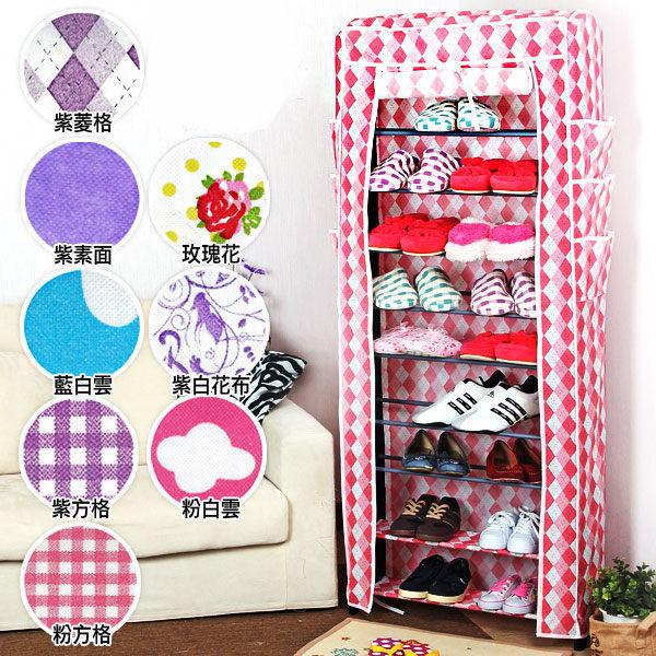 日本MAKINOU 鞋櫃|多功能十層鞋架附高品質多款花色防塵罩組合-台灣製|日本牧野 DIY衣櫥 MAKINO