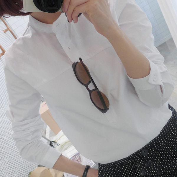 PS Mall 學院風立領純色素面排釦白襯衫 長袖襯衫【T725】
