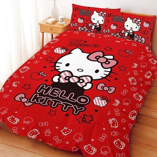 【UNIPRO】Hello Kitty 凱蒂貓 5X6.2尺 雙人床包組(枕頭套X2+床單X1) 貼心小物 (紅) 三麗鷗正版授權 台灣精品 KT