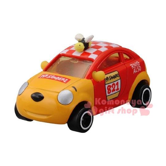 〔小禮堂〕小熊維尼 TOMICA小汽車《橘紅.賽車.DM-18》經典造型值得收藏