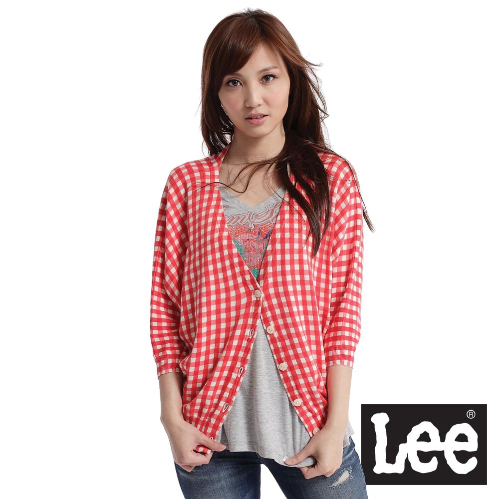 【Super Sales 外套下殺↘1.5折】LEE創新經典 5分袖格紋針織外套-女款(紅)