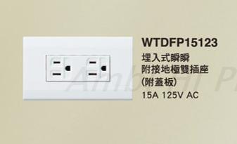 Panasonic插座WTDFP15123二插接地附蓋板125V/15A -星光系列