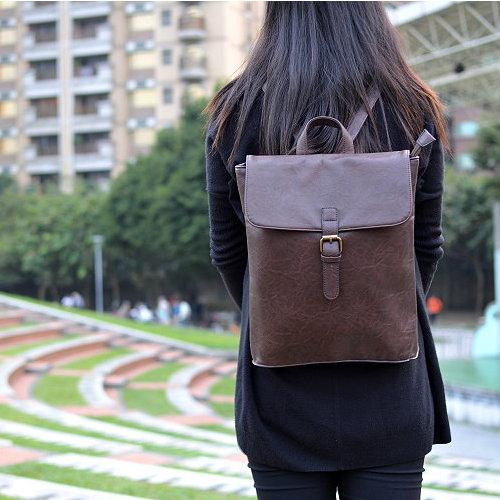【T-HOMME x LINNATE】森林系小清新復古質感簡約日系文藝學院風休閒後背包書包