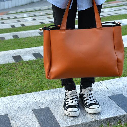 【T-HOMME x LINNATE】時尚真皮大容量子母包女士上班族三用休閒斜肩背包手提包側背包